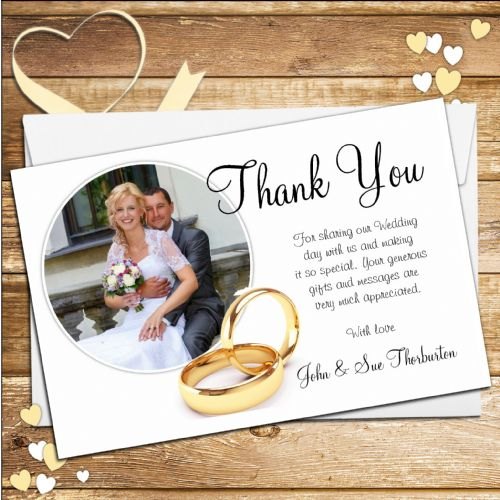 10 Personalised Gold Rings Wedding Day Thank you PHOTO cards N122